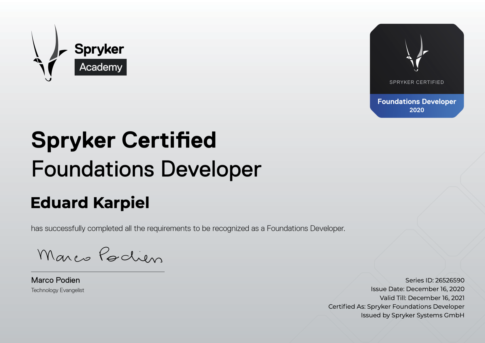 Spryker Foundations Developer Certificate
